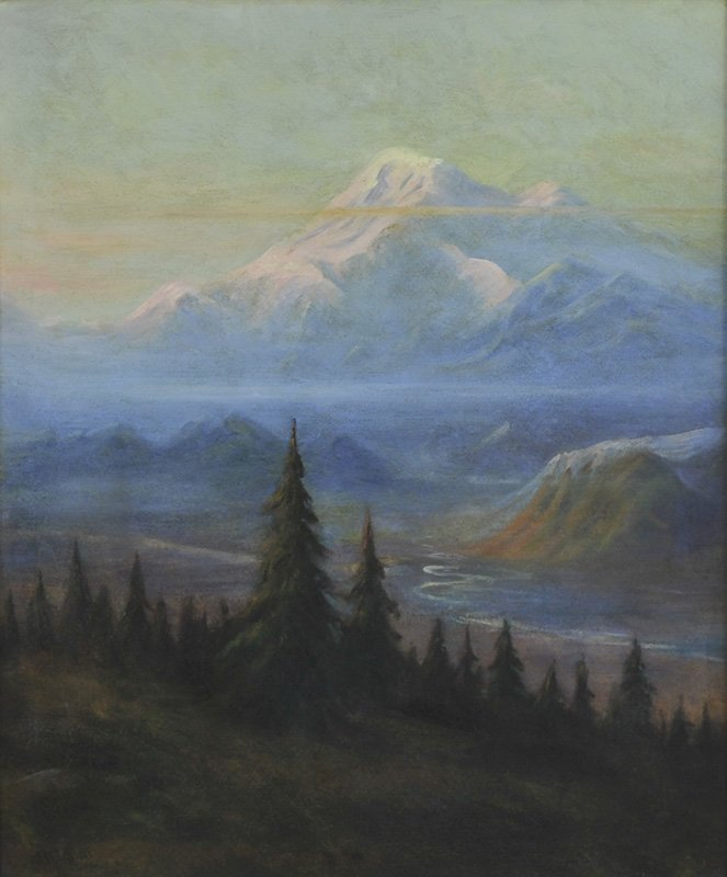 Albert Bierstadt, 'Puyallup River Valley and Mount