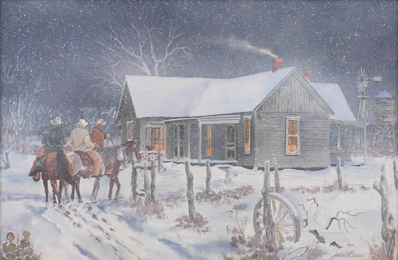 Jodie Boren, b. 1926 | Winter Ranch Scene