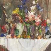 Laura Robb | b. 1955 Still Life on a White Tablecloth