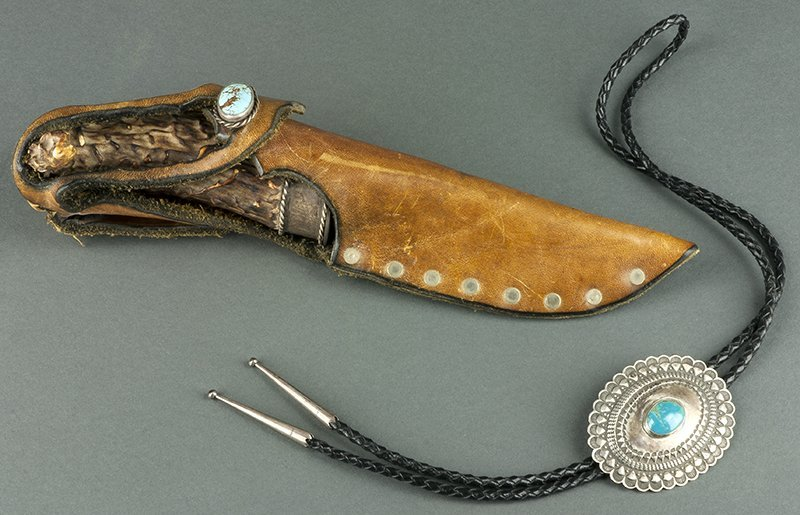 Navajo Style Bolo & Decorated Elk Horn Knife