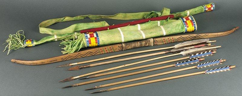 Sioux Design Bow, Arrows & Quiver (ca. 1980's)