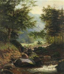 Hermann Herzog | Deer by a Mountain Stream