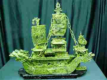 24 inch Green Jade Dragon Boat bj60