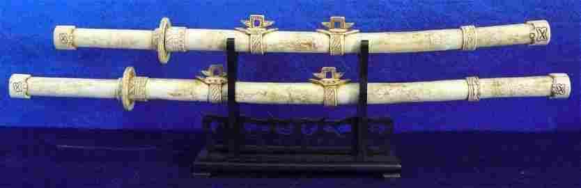 """36""""/28"""" Antique Bone Dragon Sword Set F35"""