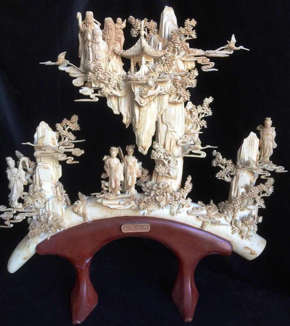 Oriental carving bone tusk erotic