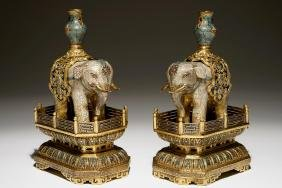 A Pair Of Chinese Glit Bronze And Cloisonne Elephants