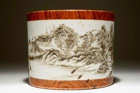 A Chinese Grisaille And Faux Bois Brush Pot, Qianlong