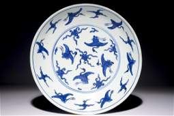 """A Chinese blue and white """"crane"""" charger, Ming, Jiajing"""