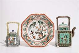Two Chinese famille verte teapots and cover and an