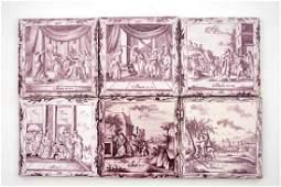 A set of six manganese Dutch Delft biblical tiles, 18th