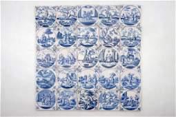 A set of 25 blue and white Dutch Delft biblical tiles,