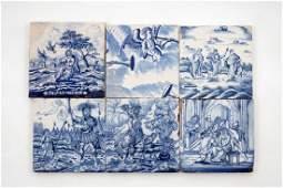 A set of 6 blue and white Dutch Delft biblical tiles,