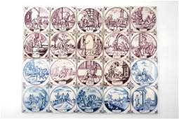 A set of 20 Dutch Delft blue, white and manganese
