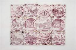 A set of 12 manganese Dutch Delft biblical tiles with