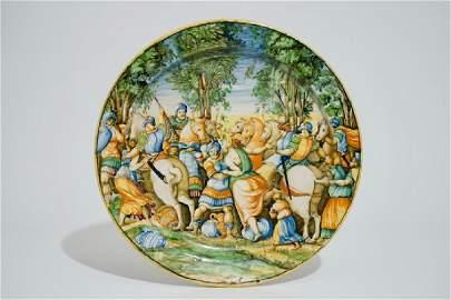 "A large Italian maiolica ""Istoriato"" charger, Urbino,"
