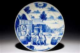 A Dutch Delft blue and white plate with barrel makers