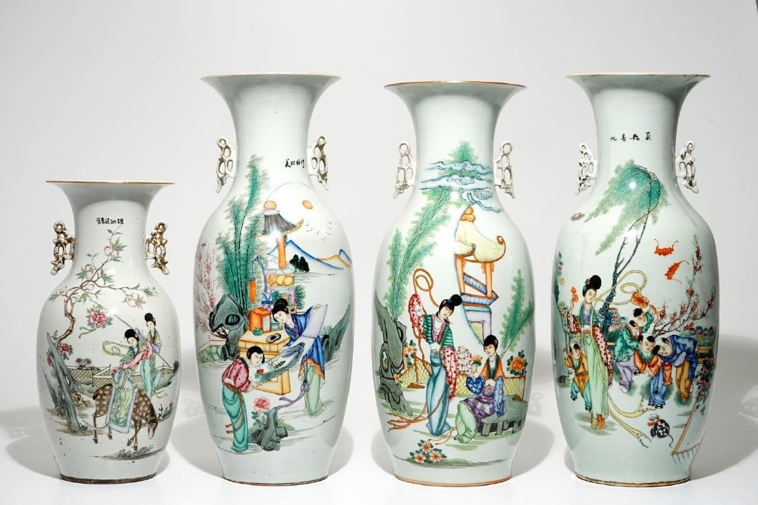 Four various Chinese famille rose vases, 19/20th C.