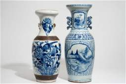 Two tall Chinese blue and white vases, 19/20th C.