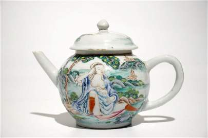 A Chinese famille rose teapot and cover with erotical