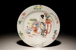A Chinese famille rose ruby back eggshell plate with a