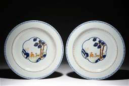 A pair of Chinese polychrome chargers with deer design,