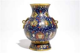 A Chinese cloisonné lotus scroll hu vase, Jingtai