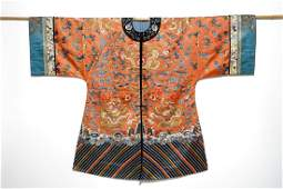 A Chinese embroidered silk robe with dragons Qing