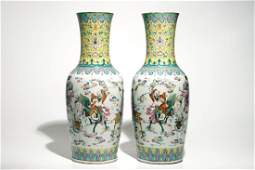 A pair of tall Chinese famille rose vases with