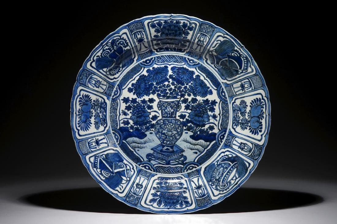 A very large blue and white Chinese kraak porcelain