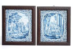 Two rectangular blue and white Delft style German