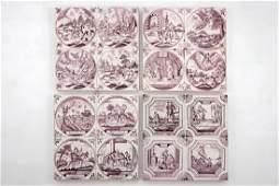 Four panels of 4 manganese Dutch Delft biblical tiles,