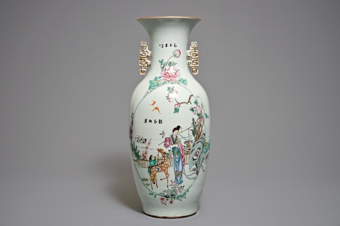 A Chinese famille rose vase with the immortal Magu with