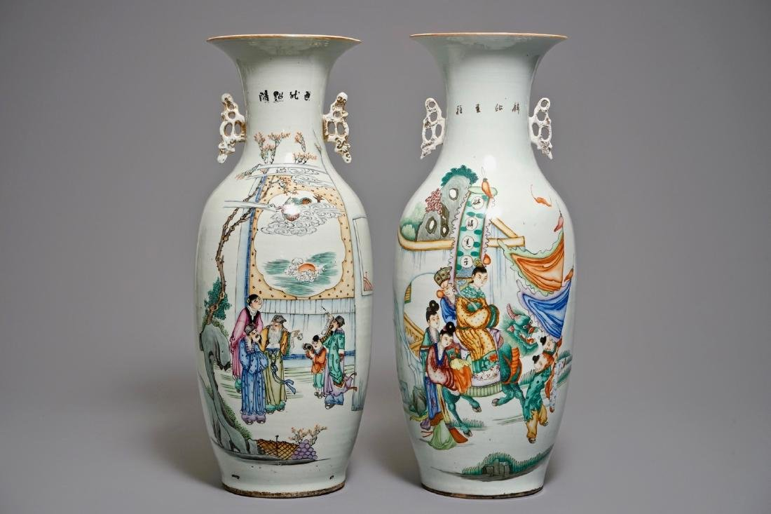 Two large Chinese famille rose figural vases, 19/20th