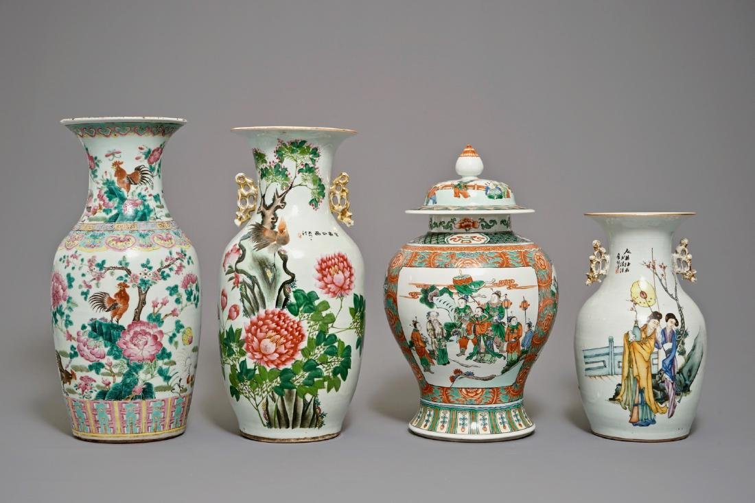 Four Chinese famille rose and verte vases, 19/20th C.