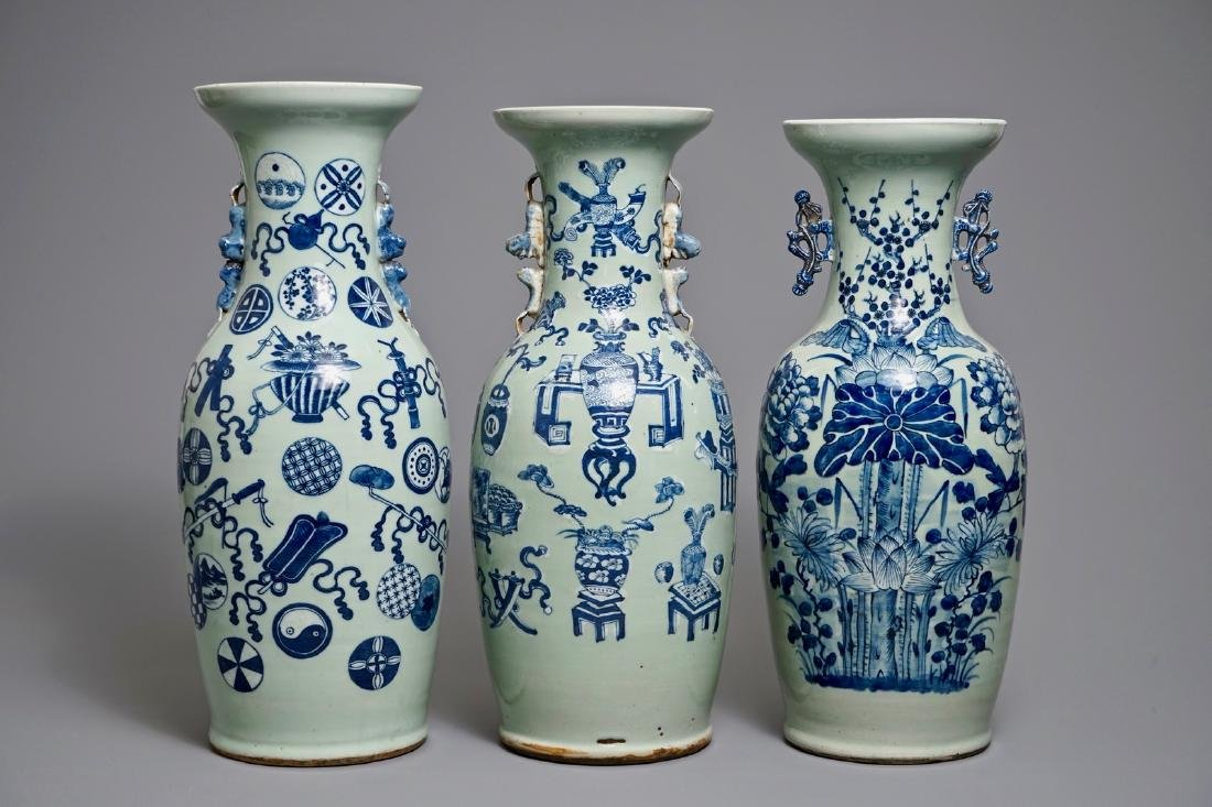 Three Chinese blue and white on celadon-ground vases,