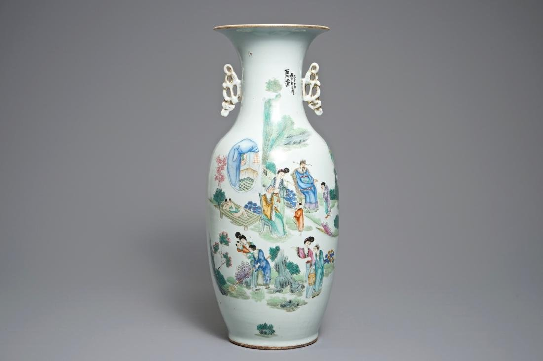 A Chinese famille rose two-sided design vase, 19/20th