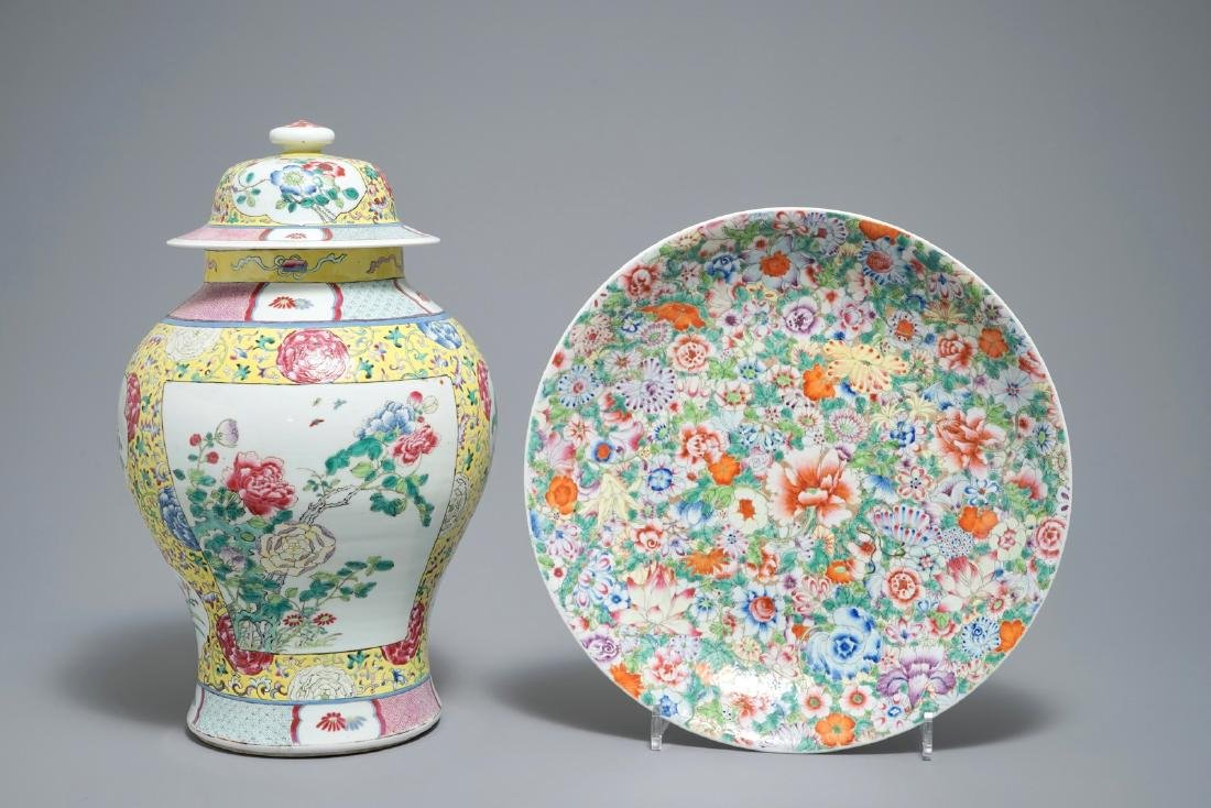 A Chinese famille rose vase and cover and a millefleurs