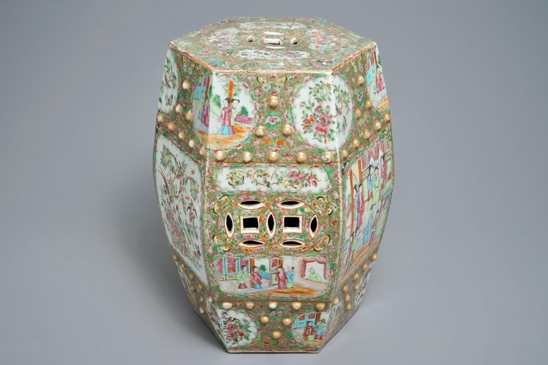 A hexagonal Chinese Canton famille rose garden seat,