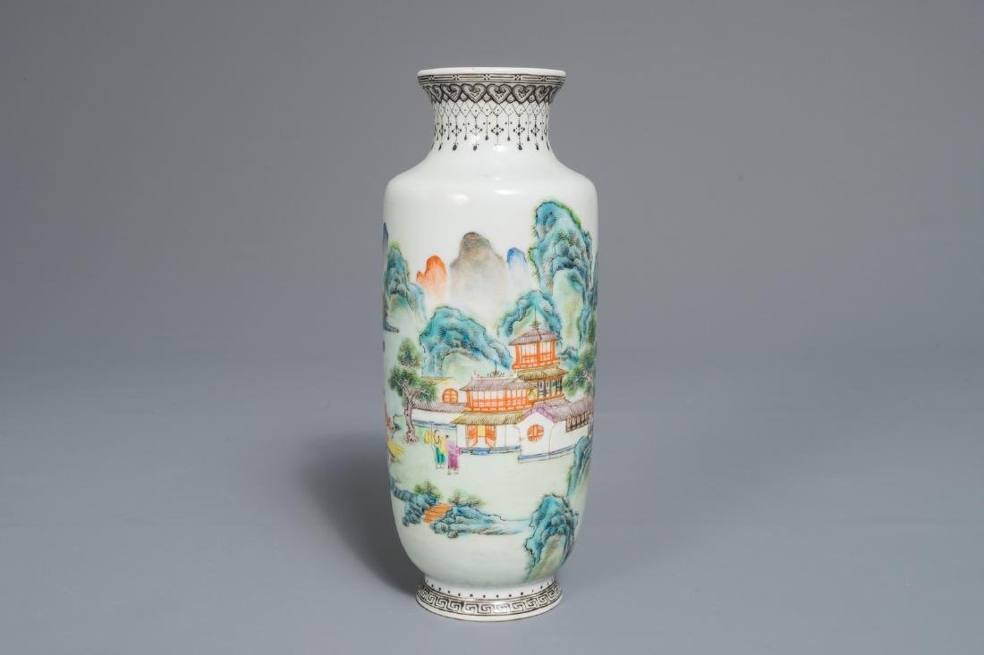 A Chinese famille rose landscape vase, Qianlong mark,