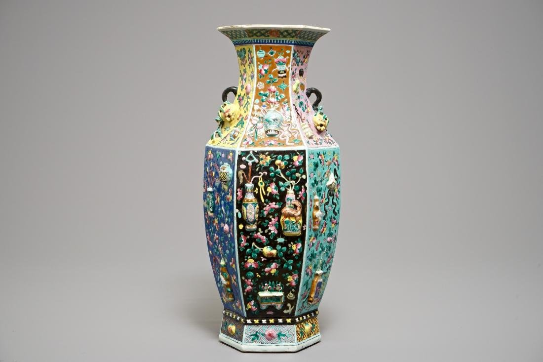 A hexagonal Chinese famille rose vase with applied
