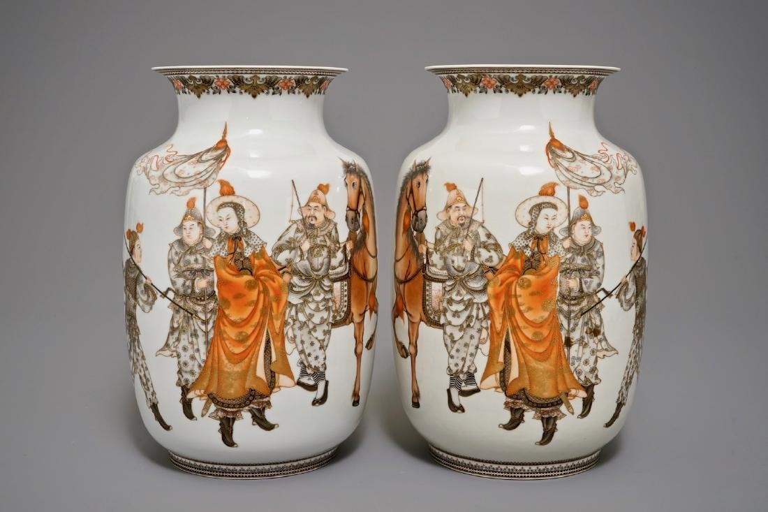 A pair of fine Chinese warrior vases, Republic, 20th C.