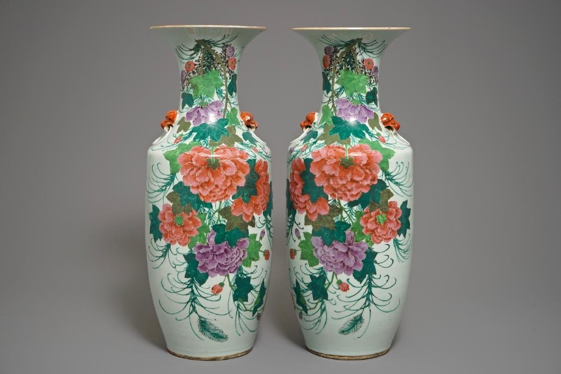 A pair of Chinese famille rose vases with floral