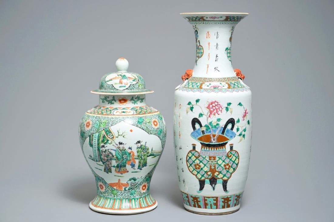 Two Chinese famille rose and verte vases, 19/20th C.