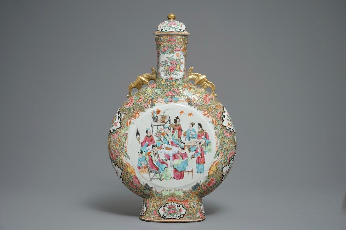 A large Chinese Canton famille rose moonflask and