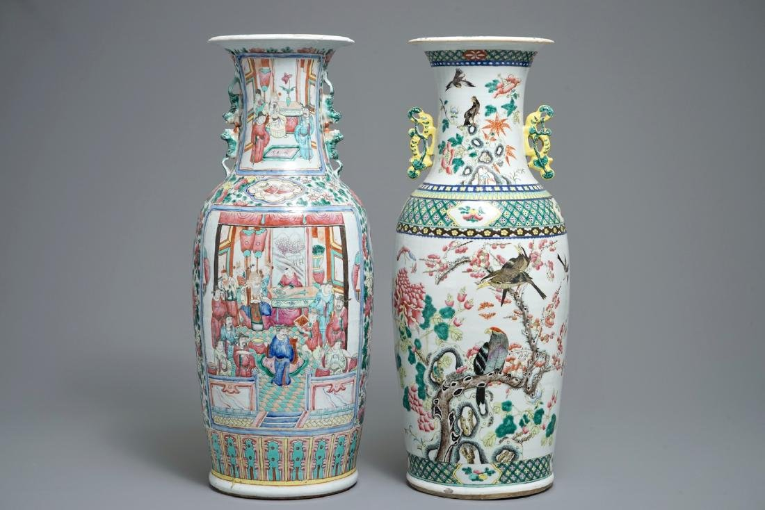 Two tall Chinese famille rose vases, 19th C.