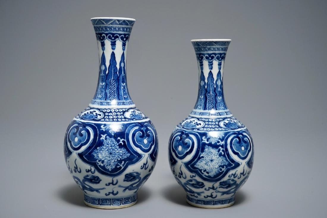 Two Chinese blue and white bottle vases, Guangxu mark,