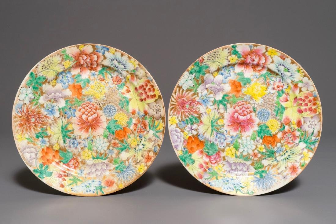 A pair of Chinese famille rose millefleurs plates,