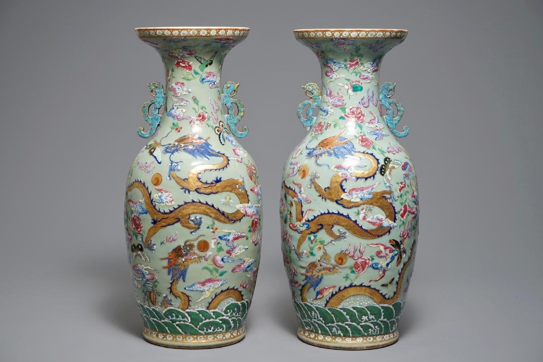 A pair of Chinese famille rose celadon-ground dragon