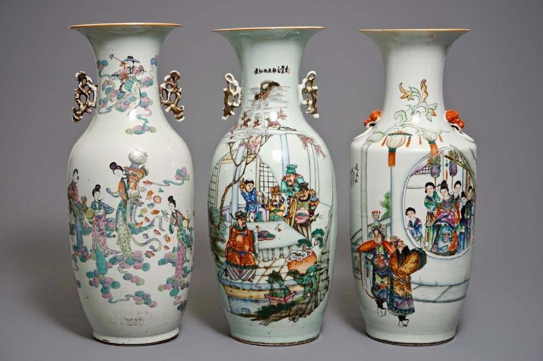 Three large Chinese famille rose vases, 19/20th C.