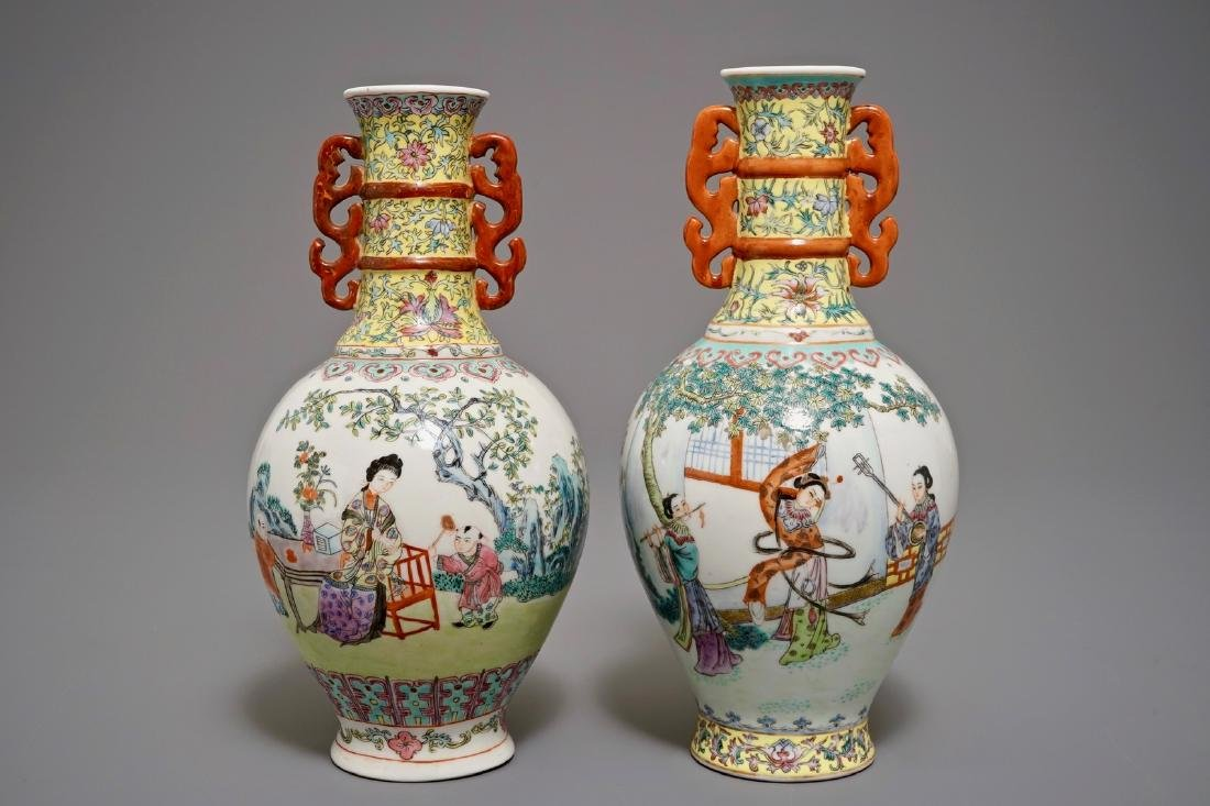 Two Chinese famille rose bottle vases, Qianlong mark,